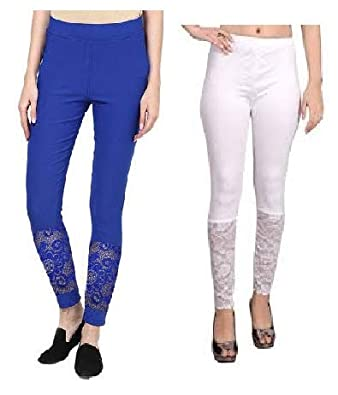9c0f08ba40056 PREET GEHNA Women's Designer Half NET LACE Ankle Length Legging Combo Pack  of Two(White+Royal Blue) Colour;Free Size: Amazon.in: Jewellery