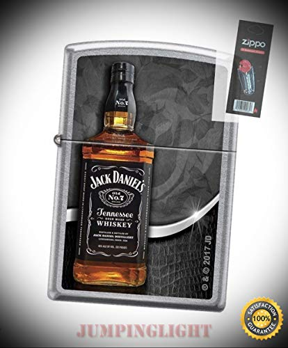 Price comparison product image 2697 Jack Daniels Tennessee Whiskey Bottle Chrome Lighter with Flint Pack - Premium Lighter Fluid (Comes Unfilled) - Made in USA!