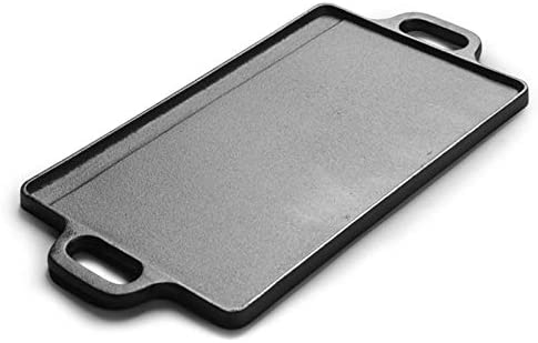 Grill Barbecue Portable Cast Rectangulaire Fer Barbecue Plaque Striped Rôtissoire Uncoated Double-Side Teppanyaki Viande Steak Grill BBQ Accessoires Outils IEAST (Size : L)