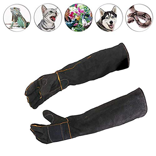 DJLOOKK Pet Handling Gloves Anti Bite Scratch Resistant Gloves Thickened Dog Training Snake Pet Gloves Protective Gloves Pet Shops Dog Cat Bird Parrot Lizard & Other Animals,Black