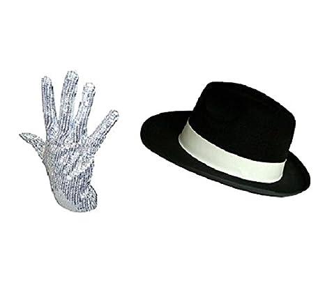 Michael Jackson Cappello con paillette e guanto set travestimento pop Icon bff65da5f215