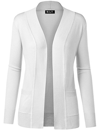 BH B.I.L.Y USA Women's Open Front Long Sleeve Classic Knit Cardigan White Medium