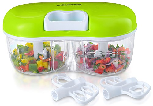 Gourmia GCH9295 Twin Vegetable Chopper & Blender Double Sided Kitchen Gadget With Interchangeable Dicing & Blending Attachments, Durable BPA free...