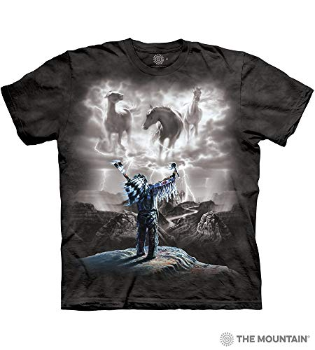 Indian Horse T-shirt - The Mountain Summoning The Storm Adult T-Shirt, Black, XL