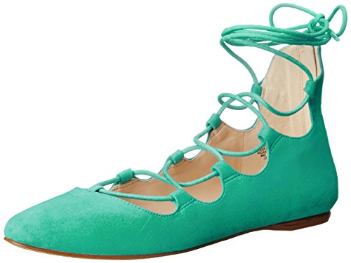 Nine West Signmeup Gamuza Ballet Flat Green Suede