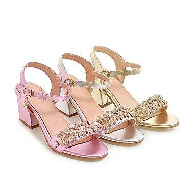 LvYuan Mujer-Tacón Robusto-Zapatos del club-Sandalias-Informal Fiesta y Noche Vestido-Semicuero-Rosa Plata Oro sliver