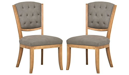 Stone Beam Bergen Tufted Dining Chairs, 36.8 H, Set of 2, Slate