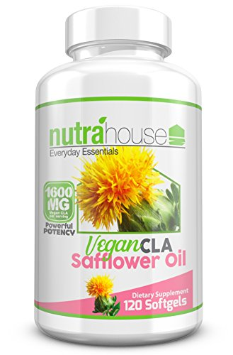 Non Gelatin (Vegan CLA Safflower Oil Softgels by NutraHouse | Natural Weight Loss Support | Non-GMO, Non-Gelatin Softgels, No Animal By-products | 120 count.)