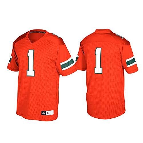 adidas Miami Hurricanes NCAA Men's Orange #1 Official Football Replica Jersey (S) ()