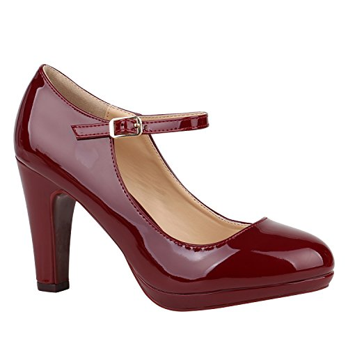 Damen Schuhe Pumps Mary Janes Veloursleder-Optik High Heels Blockabsatz Flandell Dunkelrot Lack Lack