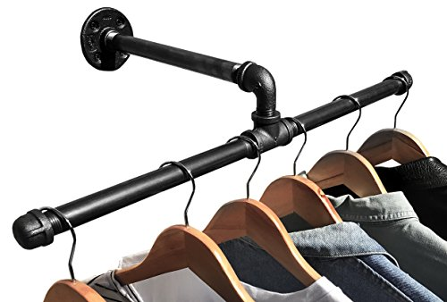 Industrial Pipe Wall Mount Clothing & Garment Rack by DIY CARTEL - HARDWARE ONLY - Perfect for Retail Display, Organizing, & Laundry (22.5 - Inch)