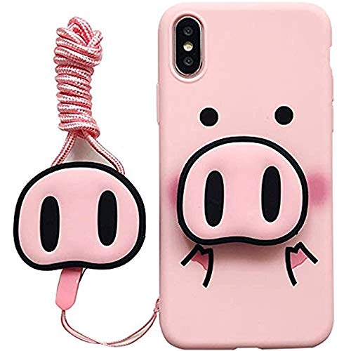 for iPhone Xs Max Case, for iPhone Xs Max Cover, Cute Pig Nose Airbag Holder Stand Strap Soft Case Cover for iPhone Xs Max XR 6S 7 8 Plus (for iPhone 6/6s)