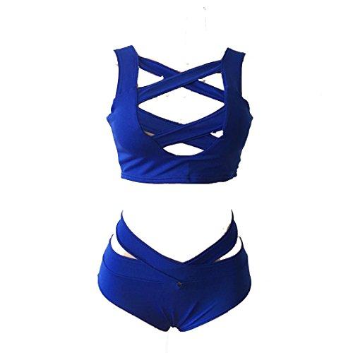 SHOBDW 2017 De las mujeres bikiní, traje de baño, Push up Bandeau acolchado sujetador traje de baño ropa de playa Azul