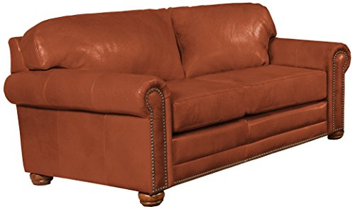 Omnia Leather Dominion 2 Cushion Loveseat in Leather, with Nail Head, Navajo Caramel