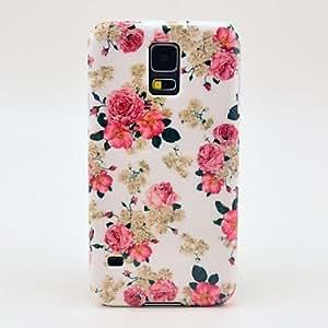 TY-Patrón de la flor de Rose de la cubierta del estuche rígido para Samsung Galaxy i9600 S5