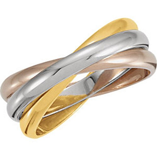 White Gold Diamond Rolling Ring - IceCarats Designer Jewelry 14K Yellow/White/Rose Gold Tri Color 3-Band Rolling Wedding Band Ring Size 6