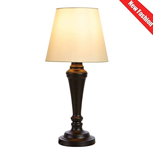 Cotulin Elegant Style Blcak Base Bedroom Living Room Beside Table Lamp, With Classic White Shade by COTULIN