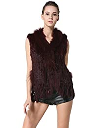 Rabbit Fur Vests with Raccoon Fur Collar Real Fur Knitted Women Waistcoat