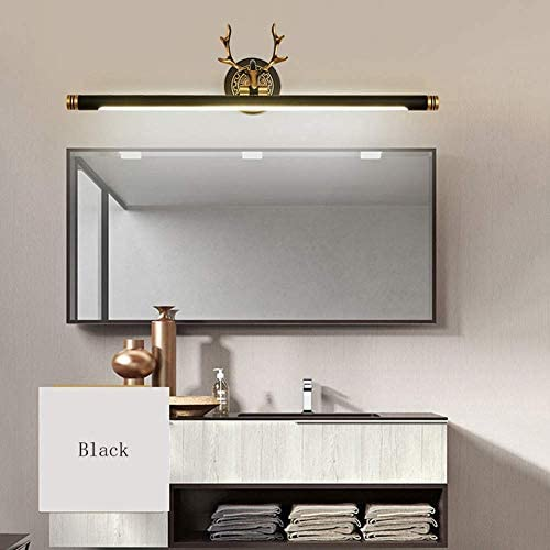 HIZLJJ 洗面化粧台照明アントラー壁ランプバス銅鹿の頭のミラーヘッドライト用のミラーバニティ照明器具ウォールライトオーバー (Size : S)