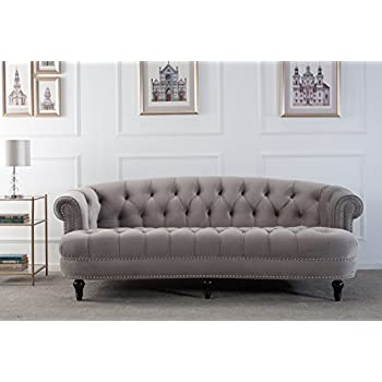 Jennifer Taylor Home La Rosa Collection Chesterfield Style Diamond Tufted Velvet Upholstered Living Room Sofa With Rolled Back, Wooden Legs and ...