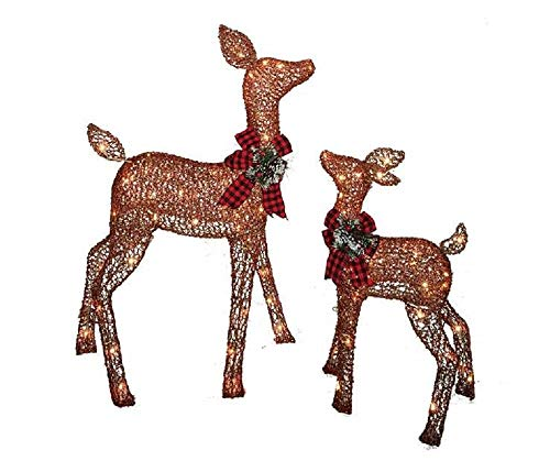 Pre-lit Glittering Champagne Doe and Fawn Deer 2-piece Lawn Christmas Decoration (Reindeer Lighted Decorations)