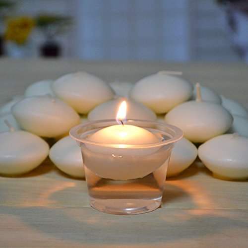 AMAZZANG-50 PCS round white floating candle Disc floater candles wedding party home (Floater Plate)