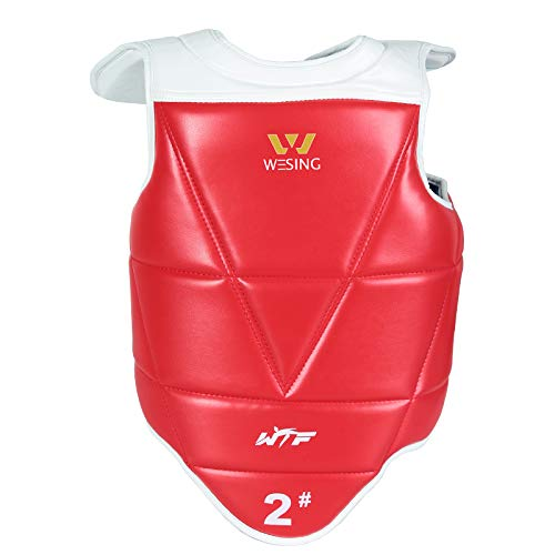Wesing WTF Approved Taekwondo Chest Protector Taekwondo Solid Reversible Chest Guard Body Protector ()
