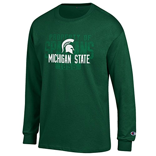 Michigan State Ladies T-shirt - NCAA Michigan State Spartans Men's Champ Long Sleeve Tee 2, XX-Large, Dark Green