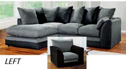 Abakus Direct Dylan Byron Corner Sofa Black & Charcoal Right or Left with Matching Armchair (Black Left and Matching Armchair)