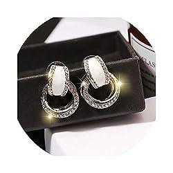 Elegant Round Gold Silver Crystal Drop Earrings