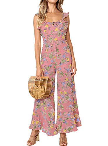 ALAIX Women's Casual Flower Frinted Falbala Overall Wide Leg Jumpsuit Bandage Rompers with Belt Pink-L