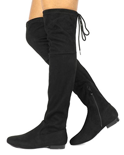 DREAM PAIRS Women's Pauline Black Faux Suede Over The Knee Boots Size 7.5 M US (Suede Over The Knee Boots)