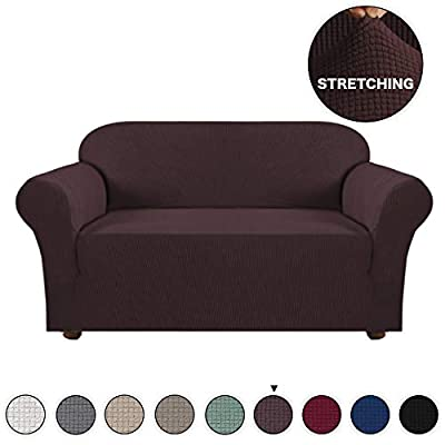 Turquoize High Stretch Loveseat Cover 1 Piece Stylish Furniture Cover/Protector with Jacquard Checked Sofa Cover Anti-Slip Foams, Machine Washable Loveseat Covers for Living Room