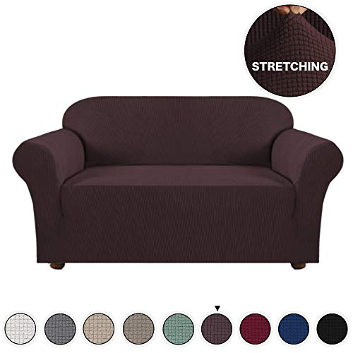 Turquoize 1 Piece Sofa Cover for Loveseat Sofa Slipcover for Living Room Furniture Cover/Protector for 2 Cushion Couch Spandex Slipcover Stylish Jacquard Couch Cover (Loveseat, Brown) (Red Love Seat Cover Couch)