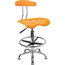 Flash Furniture LF-215-YELLOW-GG  Vibrant Orange/Yellow and Chrome Drafting Stool with Tractor Seat