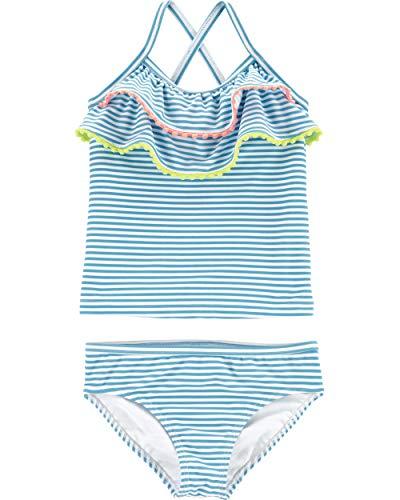 Carter's Toddler Girls' Two-Piece Swimsuit, Blue Pom, 3T (Swimwear Girls 3t)