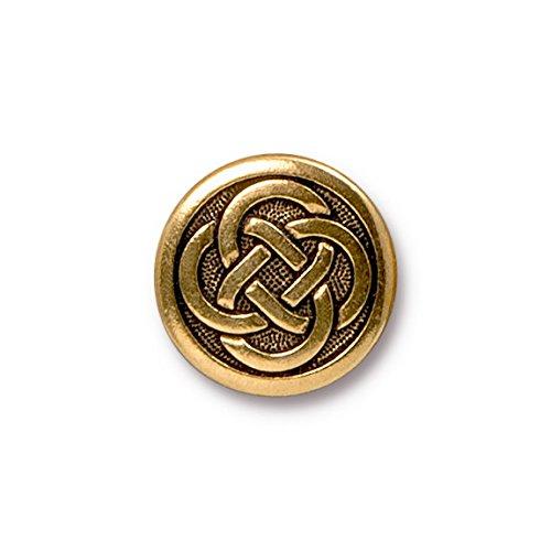 TierraCast Button Celtic Knot, 16mm, Antique Gold