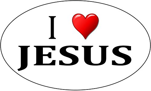 Rogue River Tactical I Love Jesus Sticker Religious Christian Car Decal Bumper Sticker Oval