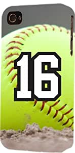 Softball Sports Fan Player Number 16 Plastic Snap On Decorative iPhone 5/5s Case