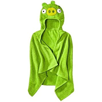 0cc598f525 Amazon.com   Angry Birds Hooded Towel - Green Pig   Hooded Baby Bath Towels    Baby