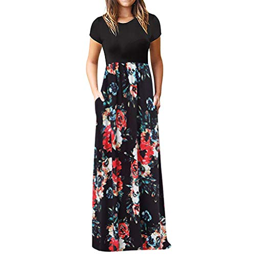 (Chaofanjiancai Elegant Women's Maxi Dress Floral Printed Summer Short Sleeves Casual O-Neck Long Maxi Dress)