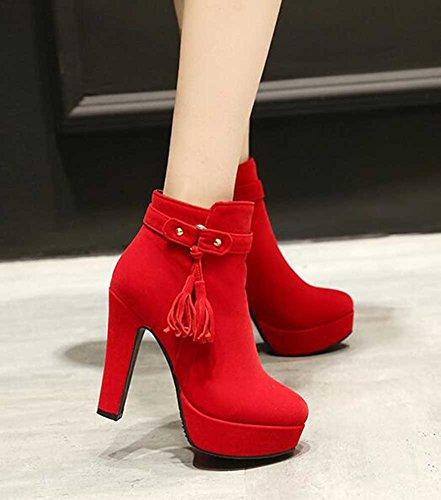 CHFSO Womens Elegant Solid SuedeTassel Round Toe Zipper High Chunky Heel Platform Ankle Boots Red k4DjiPHliv