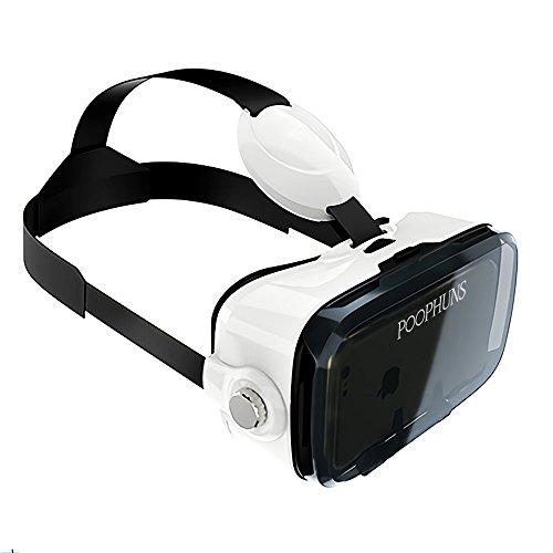 POOPHUNSVRBrille-3D VRBox-VirtualRealityBrille-3DVRBrilleGlassesfür3DFilmeundSpiele,OptischeLinse,Kompatibelmit4.7-6.2ZollSmartphones,komfortabelundweichbeim Tragen