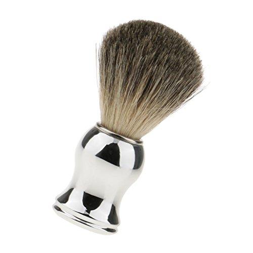 指紋トライアスロン不誠実chiwanji シェービング用ブラシ 人工毛 メンズ 理容 洗顔 髭剃り 泡立ち 11.2cm 全2色 - シルバーハンドル