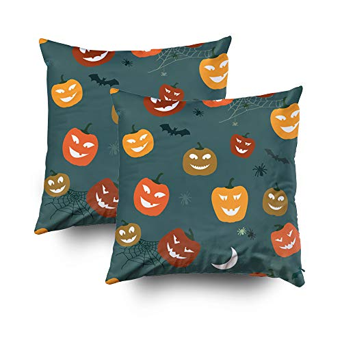 Capsceoll 2PCS Christmas Halloween Pattern Pumpkins Decorative Throw Pillow Case 20X20Inch,Home Decoration Pillowcase Zippered Pillow Covers Cushion Cover with Words for Book Lover Worm Sofa Couch