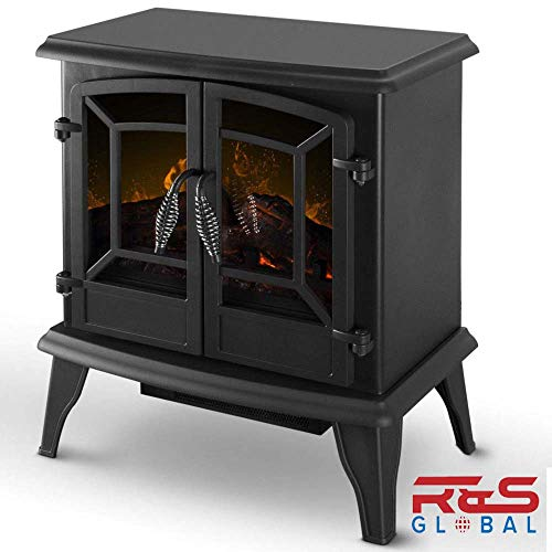 Cheap Electric Fireplace Heater 1400W Black Stove Realistic Flame Adjustable Winter Warm Warmer Home Decor Black Friday & Cyber Monday 2019