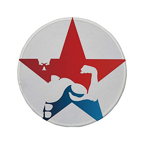 Non-Slip Rubber Round Mouse Pad,Fitness,Athlete Bodybuilder Silhouette in a Star Shape Powerful Muscular Male Biceps Decorative,Red Blue White,7.87