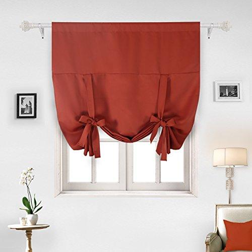 Deconovo Rod Pocket Small Window Curtain Kitchen Window Panels For Kitchen  Window Orange Red 46W X 63L One Drape