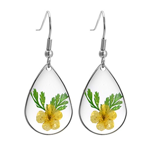 (FM FM42 Yellow Natural Dried Pressed Real Flowers Leaves Teardrop Hook Drop Earrings FE2013)