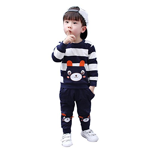 Hatoys Winter Kids Baby Girl Boy Striped Bear Tops Pants Outfits Sets(4 Years,Navy) by Hatoys